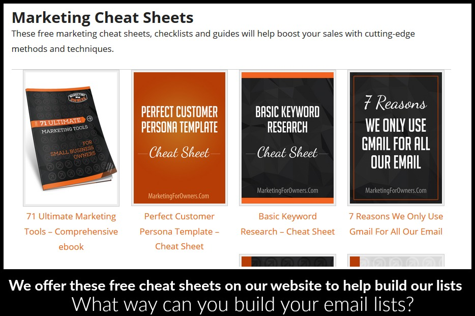 marketing cheat sheets