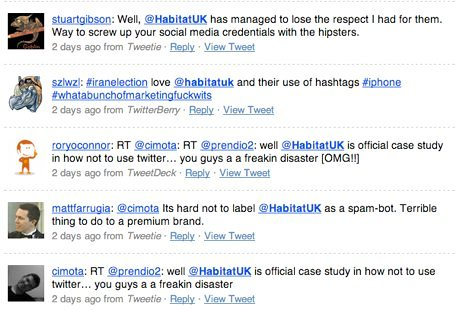 uk furniture company spams twitter